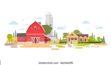 Farm With House, Farmland Countryside Landscape Flat Vector Illustration