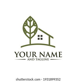 Farm House Logo Concept in Simple Iconic Line Style Design Vector, Green Wood Resident Vector Logo Template. Design template of two trees incorporate with a house that made from a simple scratch.