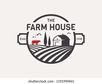 Farm House logo isolated on white background. Black and red emblem with farmhouse, cow and fields for natural farm products. Vector illustration.