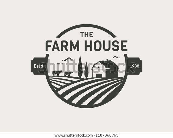 Farm House Logo Isolated On White Stock Vector (Royalty Free) 1187368963