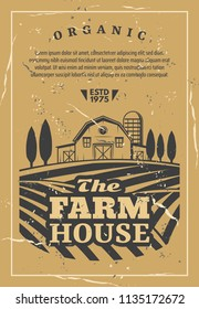 Farm house for organic products retro poster. Agriculture card with fields and rows of vegetables and wheat, barn among trees, orchard garden vector. Rural landscape with building for harvest storage