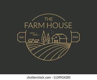 Farm House outline logo isolated on black background. Vector line emblem with farmhouse, cows and fields for natural farm products.