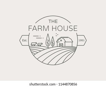 Farm House outline logo isolated on white background. Vector line emblem with farmhouse, cows and fields for natural farm products.