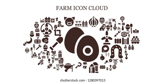 farm icon set. 93 filled farm icons. Simple modern icons about  - Boiled egg, Farm, Wheat, Pig, Onion, Milk, Silo, Sickle, Wheelbarrow, Chick, Horse, Field, Egg, Crop, Farmer