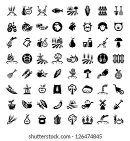 Farm Icon Set for web and mobile. All elements are grouped.