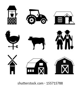 farm icons over white background vector illustration