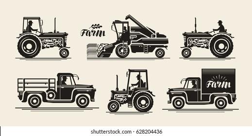 Farm icons set. Agricultural industry, farmer, harvester, tractor, truck symbol. Vintage vector illustration