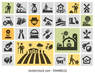 farm icons set. collection elements grower, gardener, field, honey, plant, harvest, barn, tractor, tree, chicken, watering can, birdhouse, windmill, axe, farmer, hose, bench, sack of grain, flower