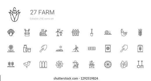 farm icons set. Collection of farm with orange, large, farmer, turbine, fence, chicken, wheat, seeds, hay bale, farmer hoeing, field, shovel. Editable and scalable farm icons.