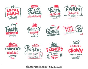 Farm icons set. natural, organic food. Symbol vector illustration. Hand made. Vintage farm logo collection. Farm icons set.