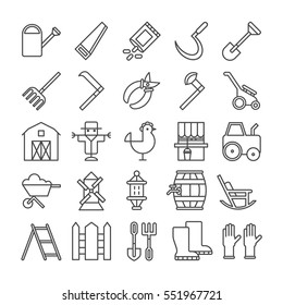 Farm icons set on white background. Harvest, dairy products, animals and gardening tools. Gloves, barn and chicken.