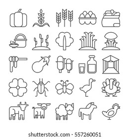 Farm icons set on white background. Harvest, dairy products, animals and gardening tools. Vegetables, corn and livestock.