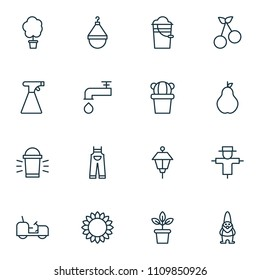 Farm icons set with pail, scale, tractor and other spigot elements. Isolated vector illustration farm icons.