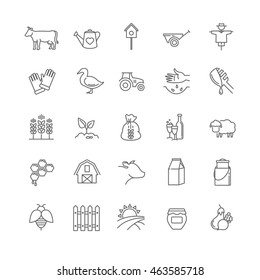 farm icons set for your design