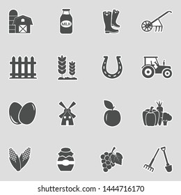 Farm Icons. Sticker Design. Vector Illustration.