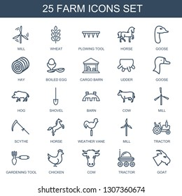 farm icons. Trendy 25 farm icons. Contain icons such as mill, wheat, plowing tool, horse, goose, hay, boiled egg, cargo barn, udder, hog, shovel. farm icon for web and mobile.