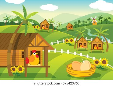 Farm illustration with cute infographic element
