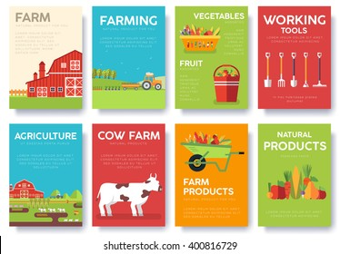 Farm information cards set. Nature template of flyear, magazines, posters, book cover, banners. Eco infographic concept  background. Layout illustrations modern pages with typography text
