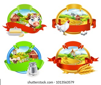 Farm. Label set. Cow and milk, butter, chicken and eggs, bread and pasta. 3d vector for packing