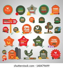 Farm Labels And Icons Set - Isolated On Gray Background - Vector illustration, Graphic Design Editable For Your Design. Lot Of Useful Elements. Farm Logo