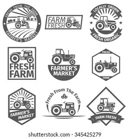 Farm labels with tractor. Natural organic, farming and agriculture, healthy vector illustration