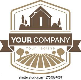 Farm land logo colorful icons, vector brand identity concept.
