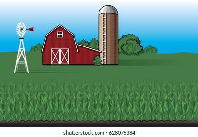 Farm Landscape with Barn Vector Illustration