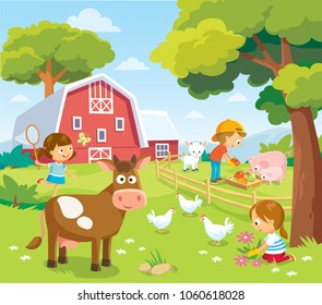 Farm landscape with children. Picture view with farm animals cow  pig chicken and barn. Summer holidays at the countryside.