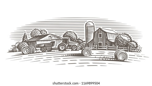 Farm landscape illustration. Vector.