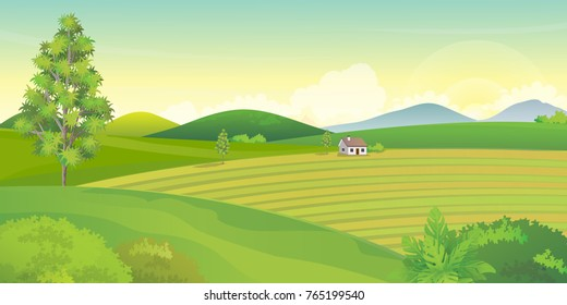 Farm landscape with mountains and hills in summer day.Vector illustration.