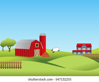 Farm landscape with rolling hills
