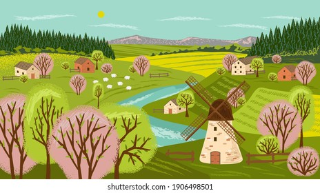 Farm landscape vector hand drawn poster. Rural countryside scene with house, farm, windmill and agriculture field. Village land with sheep on a meadow next to river