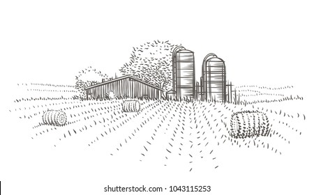 Farm landscape view vector sketch.