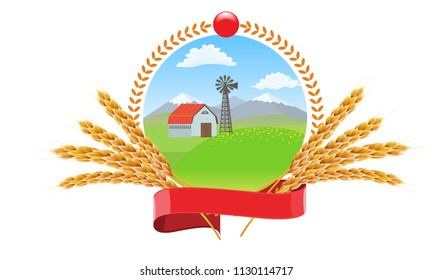 Farm landscape with wheat spikes circle round logo vector design for package design.
