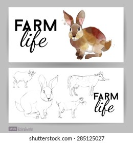 Farm life. Flyer design with rabbit