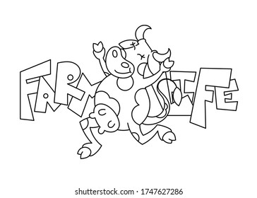 Farm Life. Happy cartoon jumping and dancing smiling cow. Vector illustration of a silly cow, icon childish mascot isolated on white.