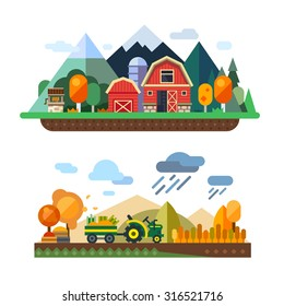Farm life: natural economy, agriculture, autumn harvesting, life in the countryside, village landscapes with mountains and hills. Tractor in the field harvests. Vector flat illustration