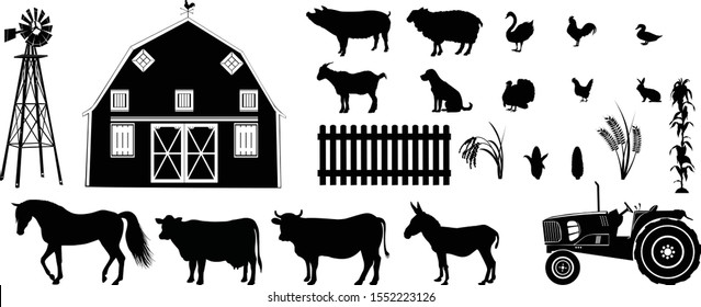 Farm life silhouette vector illustration