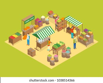 Farm Local Market Concept 3d Isometric View Fresh Healthy Vegetable, Organic Food and Farmers. Vector illustration of Stall