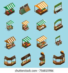Farm local market isometric collection with isolated images of stalls with tents products and sign plates vector illustration
