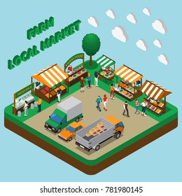 Farm local market isometric composition with village fairground tent stalls with organic products cars and trucks vector illustration