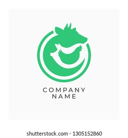 Farm logo with animals. Label for agricultural animals, natural farm products. Green logotype isolated on white background. Vector illustration of cow, pig and chicken