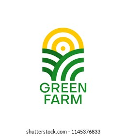 Farm logo design. Organic product. Sun and green field. Minimal vector emblem