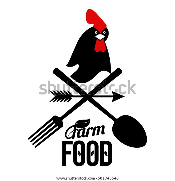 Farm logo with a rooster and a farmer's tools. Vector illustration. Web banners, advertisements, brochures, business templates. Isolated on a white background.