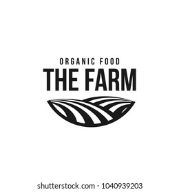 The farm logo template. Meadow silhouette, land symbol with horizon in perspective. Farm food badge. Vector