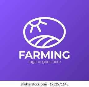 The farm logo template. Meadow silhouette, land and sun symbol with horizon in perspective. Farm food badge. Vector