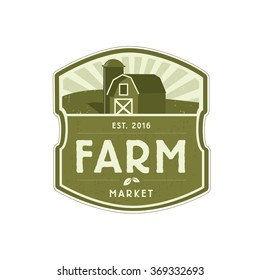 Farm logo in unique shape with barn and silo. Vector