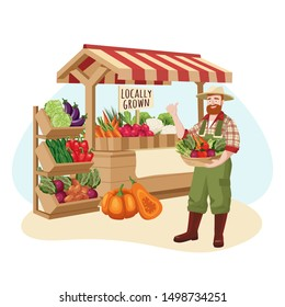 Farm market vector flat cartoon illustration. Farmer sells locally grown fresh vegetables. Healthy organic grocery food shop concept.
