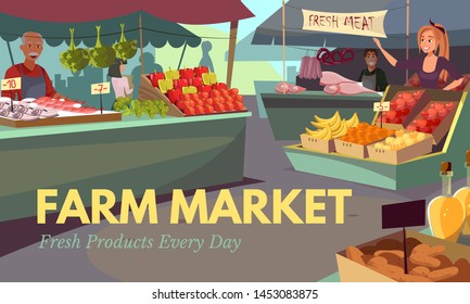 Farm market web banner flat vector template. Farmers selling organic fruits and vegetables. Stalls with fresh fish and meat cartoon illustration. Natural and eco food festival. Seasonal veggies buying