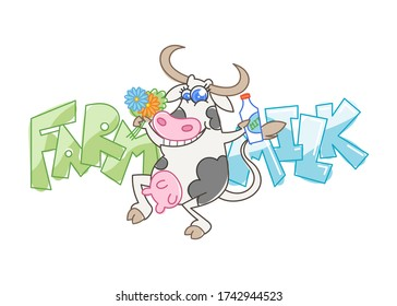 Farm milk. Happy cartoon smiling cow with a bottle of milk and flowers. Vector illustration of a silly cow, icon childish mascot isolated on white.